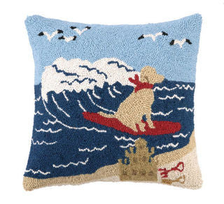 Rover Island Surfing Lab Pillow - By the Sea Beach Decor