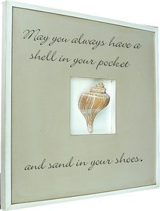Quote Box Channel Whelk Framed Art - By the Sea Beach Decor