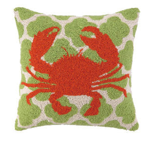 "Avila Beach Crab 18"" Hook Pillow - By the Sea Beach Decor"