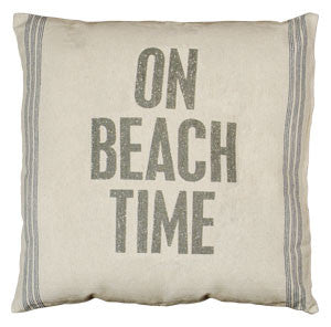 On Beach Time Oversized Coastal Decor Pillow