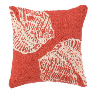 Santa Cruz Double Coral Seashell Hook Pillow - By the Sea Beach Decor