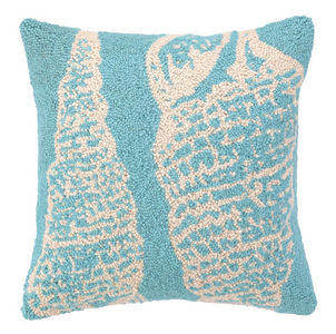 Santa Cruz Double Seashells Blue Hook Pillow - By the Sea Beach Decor