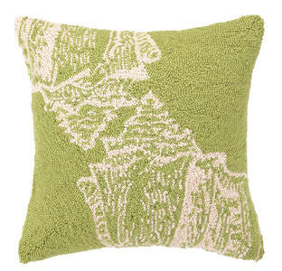Santa Cruz Green Seashell Hook Pillow - By the Sea Beach Decor