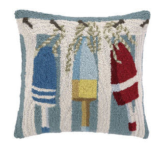 Clearwater Buoys Hook Pillow - By the Sea Beach Decor