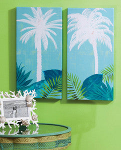 Palm Tree Paradise Coastal Decor Canvas Set