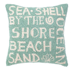 Beach Paradise Script Coastal Decor Hook Pillow