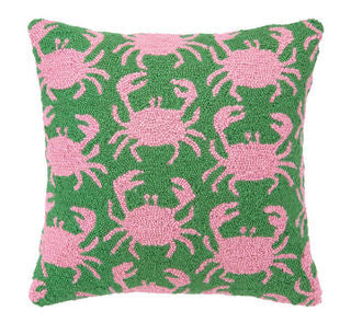 Crab Shack Green Hook Pillow - By the Sea Beach Decor