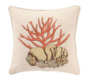 Stag Coral Embroidered Pillow - By the Sea Beach Decor