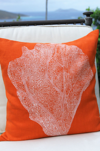Orange & White Seafan Handprinted Linen Coastal Decor Pillow