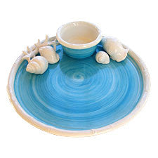 Turquoise & White Seashell Chip & Dip, The Mane Lion - By the Sea Beach Decor