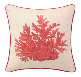Red Coral Embroidered Pillow - By the Sea Beach Decor