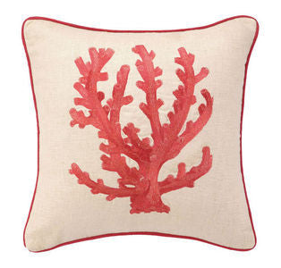 Red Coral Branch Embroidered Coastal Decor Pillow