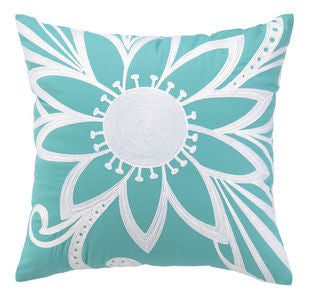 Calypso Azul Crewel Pillow - By the Sea Beach Decor