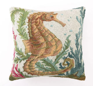 Old World Sealife Seahorse Hook Pillow - By the Sea Beach Decor