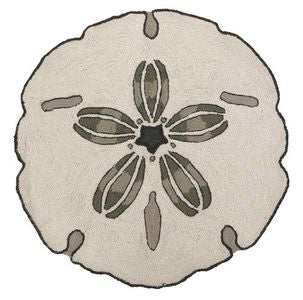 Sand Dollar Shaped Coastal Decor Hook Rug
