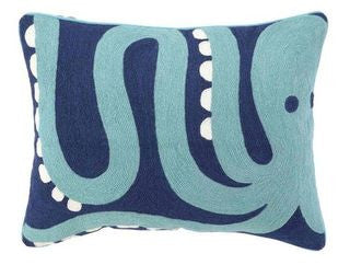 Octopus Crewel Pillow - By the Sea Beach Decor