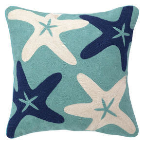 Starfish Crewel Coastal Decor Pillow