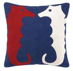 Seahorse Crewel Coastal Decor Pillow