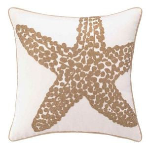 Harbor Island Starfish Embroidered Pillow - By the Sea Beach Decor