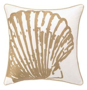 Scallop Shell Natural Embroidered Coastal Decor Pillow