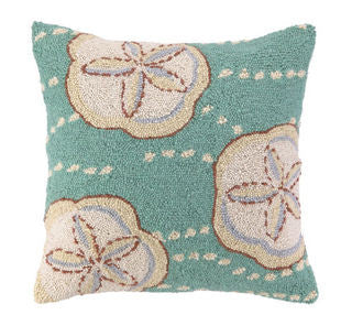 Sand Dollar Blue  Hook Beach Accent Pillow