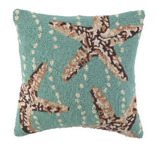 Starfish Blue Hook Pillow - By the Sea Beach Decor