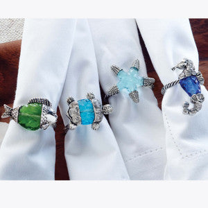Sealife Silver & Glass Beach Napkin Ring Set