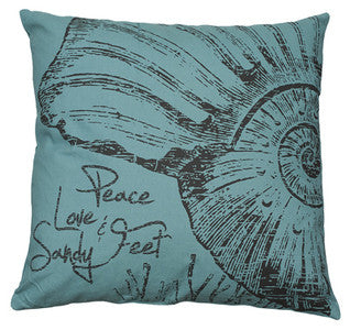 Peace, Love & Sandy Feet Pillow - By the Sea Beach Decor