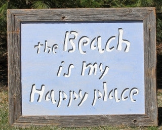 The Beach is My Happy Place Wood Print - By the Sea Beach Decor