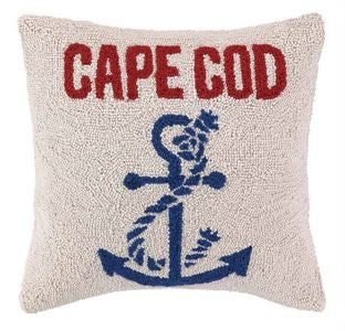 "Anchored at Cape Cod 16"" Wool Pillow - By the Sea Beach Decor"