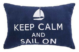 Keep Calm & Sail On Pillow - By the Sea Beach Decor