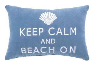 Keep Calm & Beach On Coastal Decor Pillow