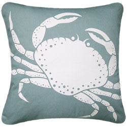 Oceanside Aqua Crab Pillow - By the Sea Beach Decor