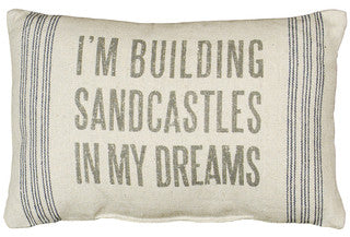 Building Sandcastles Coastal Decor Pillow