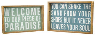 Box Sign Wooden Coastal Decor Tray Set - By the Sea Beach Decor