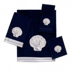 Indigo Shell Coastal Bath Towel Collection