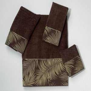 Tropical Leaves Mocha Beach Bath Towel Collection