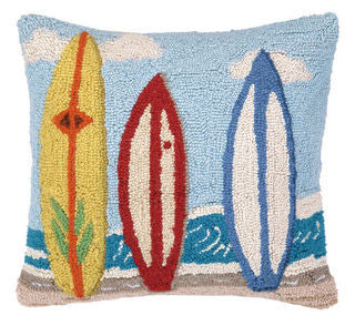 Surf City Surfboard Hook Pillow - By the Sea Beach Decor