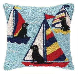 Rover Island Sailor Labs Hook Pillow - By the Sea Beach Decor