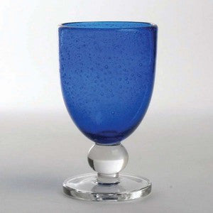 Cobalt Bubble Glass Goblet Set - By the Sea Beach Decor