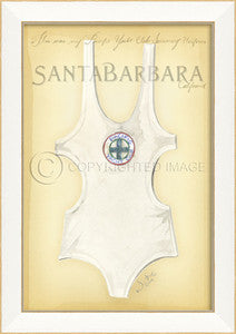Vintage Swimwear Santa Barbara Framed Art - By the Sea Beach Decor