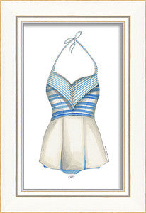 Classic Swimsuit Blue Stripes Framed Art - By the Sea Beach Decor