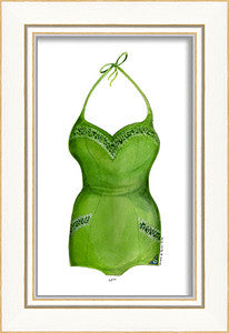 Classic Swimsuit Green Framed Art - By the Sea Beach Decor