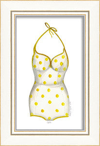 Classic Swimsuit Yellow Polka Dot Framed Art - By the Sea Beach Decor