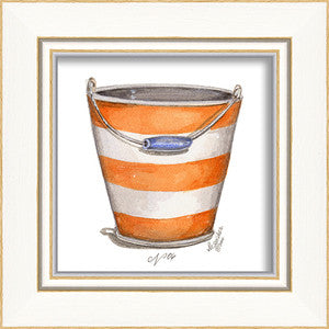 Beach Time Pail Framed Art - By the Sea Beach Decor