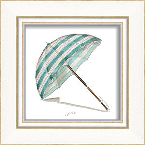 Beach Time Umbrella Framed Art - By the Sea Beach Decor