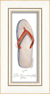 Beach Time Flip Flop Framed Art - By the Sea Beach Decor