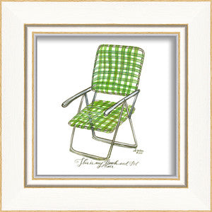 Beach Time Green Beach Chair Framed Art - By the Sea Beach Decor
