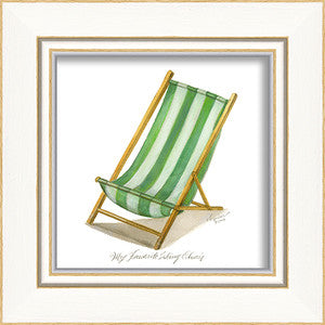 Beach Time Green Sling Chair Framed Art - By the Sea Beach Decor