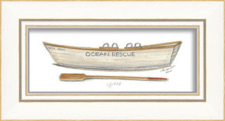 Beach Time Ocean Rescue Boat Framed Art - By the Sea Beach Decor